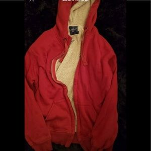 Red Sherpa Lined ZIP Up Jacket